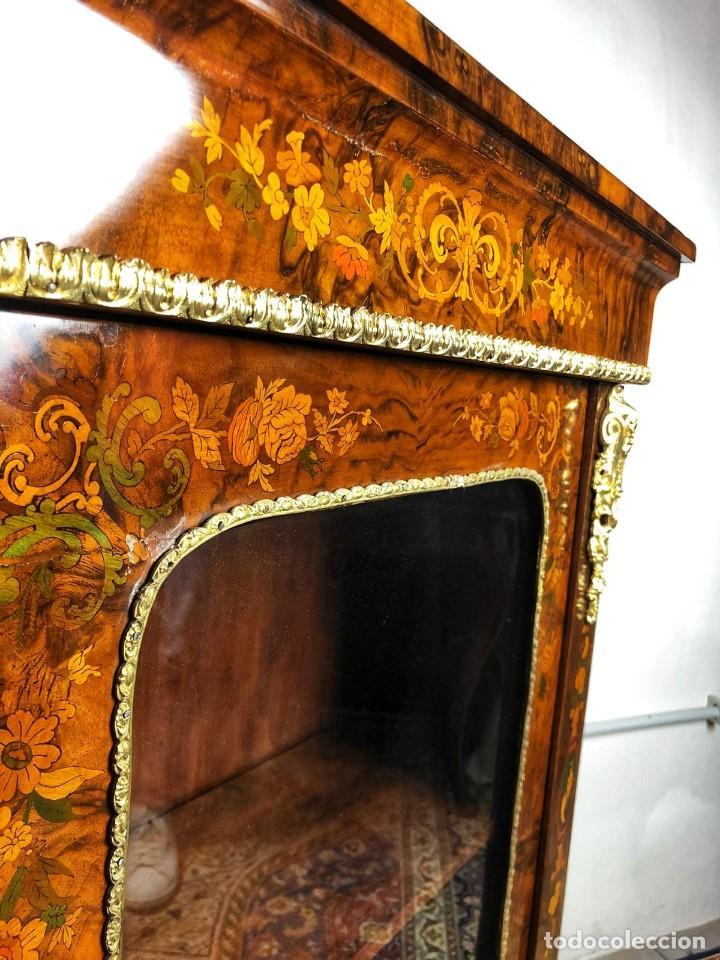 Antigüedades: Vitrina Luis XVI en Raiz y Pluma de Nogal Siglo XVIII - Foto 6 - 276936563