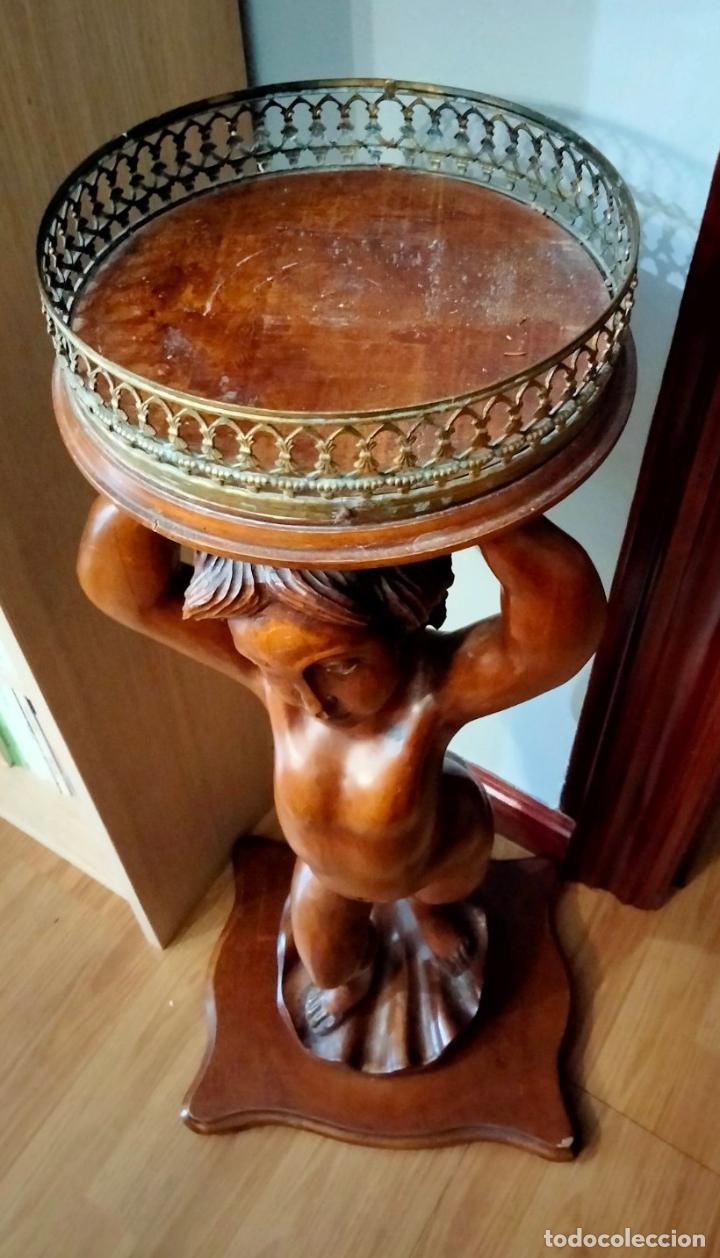 Antigüedades: Gran Peana para Planta de Interior. Figura de Niño Tallado en Caoba y Bandeja con Perfil de Bronce - Foto 21 - 276937178