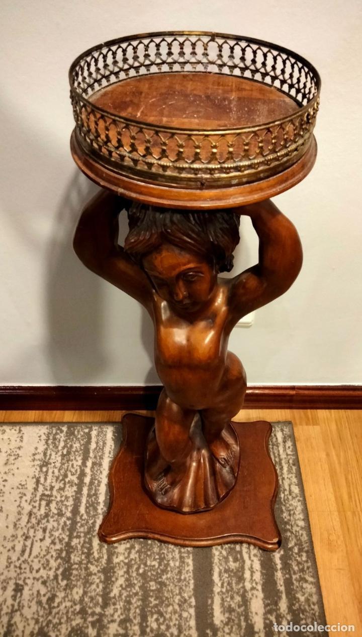 Antigüedades: Gran Peana para Planta de Interior. Figura de Niño Tallado en Caoba y Bandeja con Perfil de Bronce - Foto 24 - 276937178