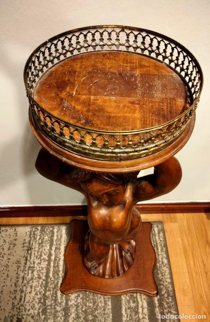 Antigüedades: Gran Peana para Planta de Interior. Figura de Niño Tallado en Caoba y Bandeja con Perfil de Bronce - Foto 25 - 276937178