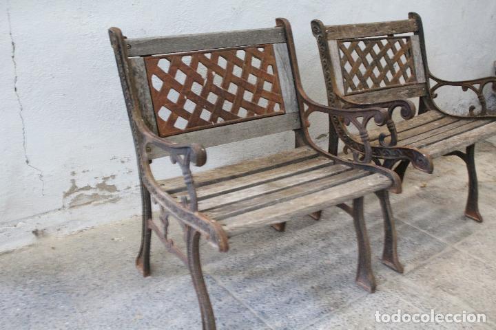 Antigüedades: pareja sillones de jardin de hierro fundido y madera - Foto 2 - 276984298
