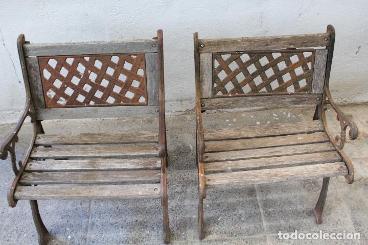 Antigüedades: pareja sillones de jardin de hierro fundido y madera - Foto 3 - 276984298