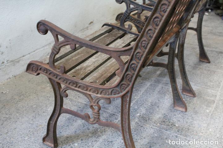 Antigüedades: pareja sillones de jardin de hierro fundido y madera - Foto 4 - 276984298