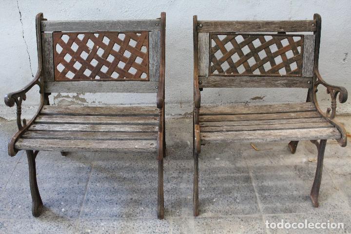 Antigüedades: pareja sillones de jardin de hierro fundido y madera - Foto 5 - 276984298