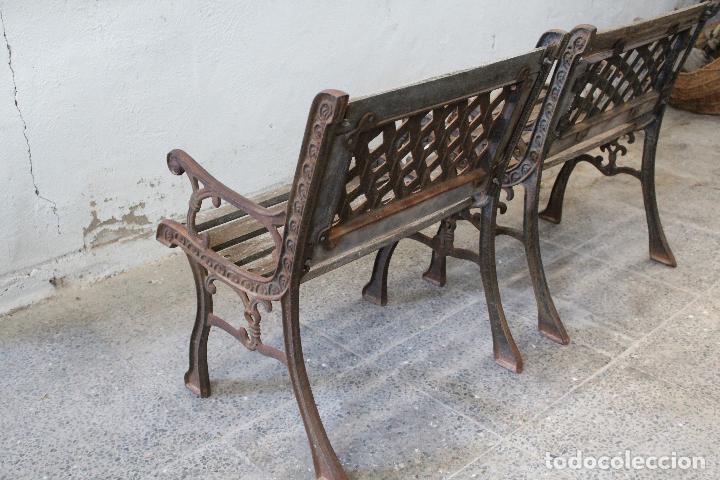 Antigüedades: pareja sillones de jardin de hierro fundido y madera - Foto 6 - 276984298