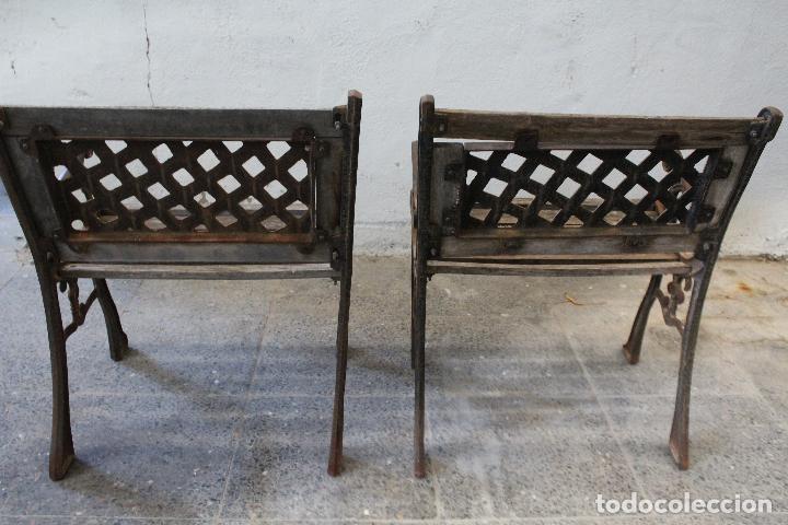 Antigüedades: pareja sillones de jardin de hierro fundido y madera - Foto 7 - 276984298