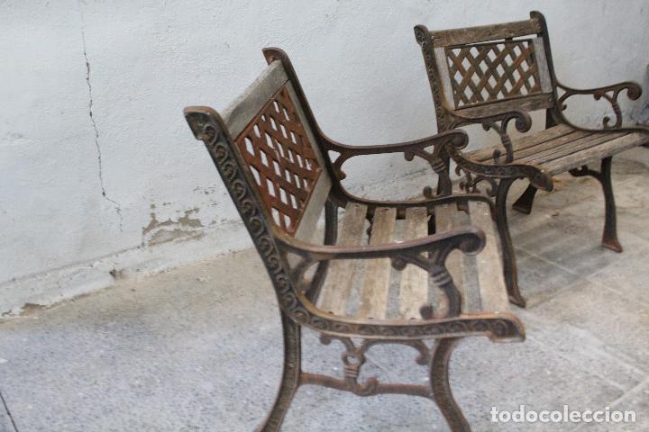 Antigüedades: pareja sillones de jardin de hierro fundido y madera - Foto 8 - 276984298