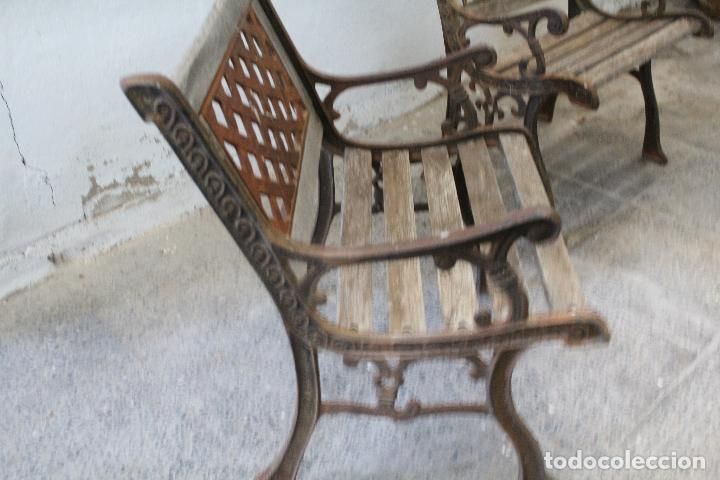 Antigüedades: pareja sillones de jardin de hierro fundido y madera - Foto 9 - 276984298