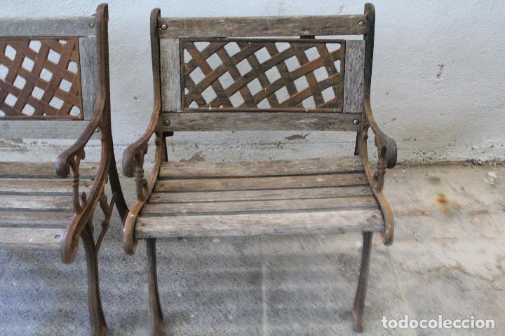 Antigüedades: pareja sillones de jardin de hierro fundido y madera - Foto 10 - 276984298