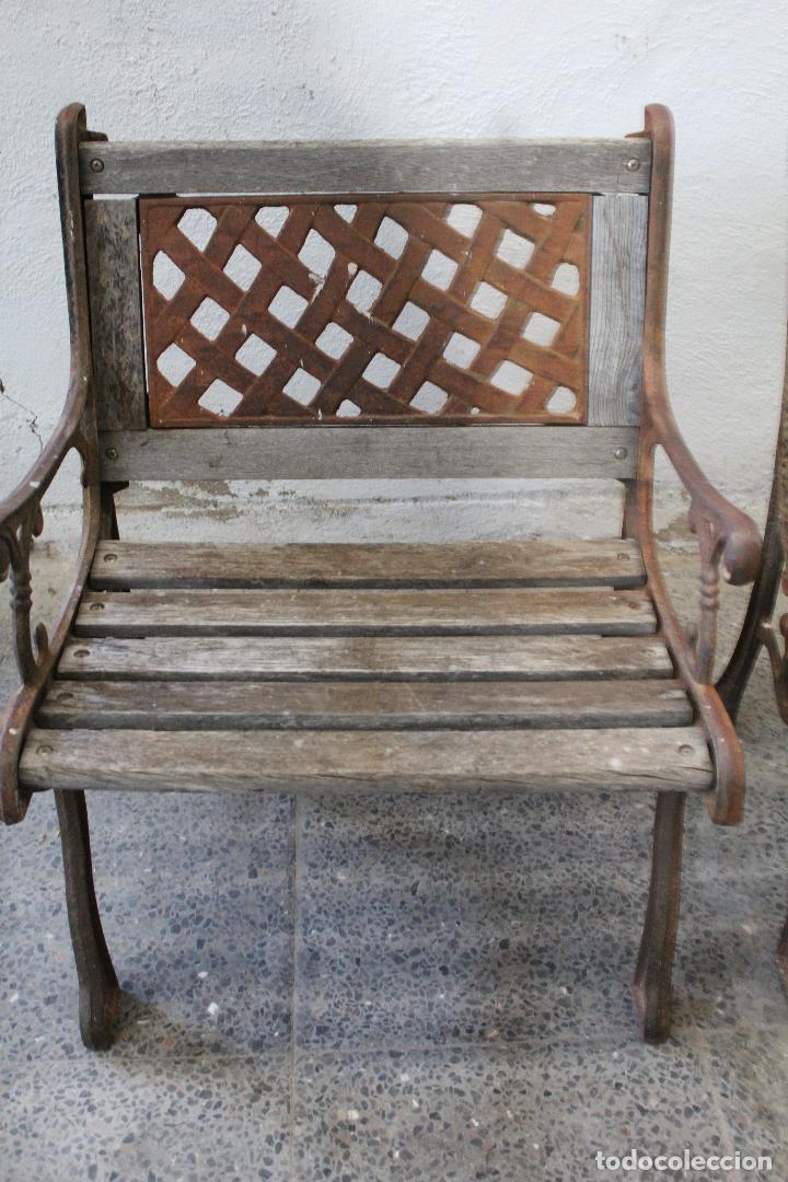 Antigüedades: pareja sillones de jardin de hierro fundido y madera - Foto 11 - 276984298