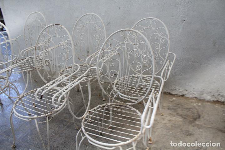 Antigüedades: 6 sillones sillas de jardin de hierro hueco - Foto 2 - 276984628