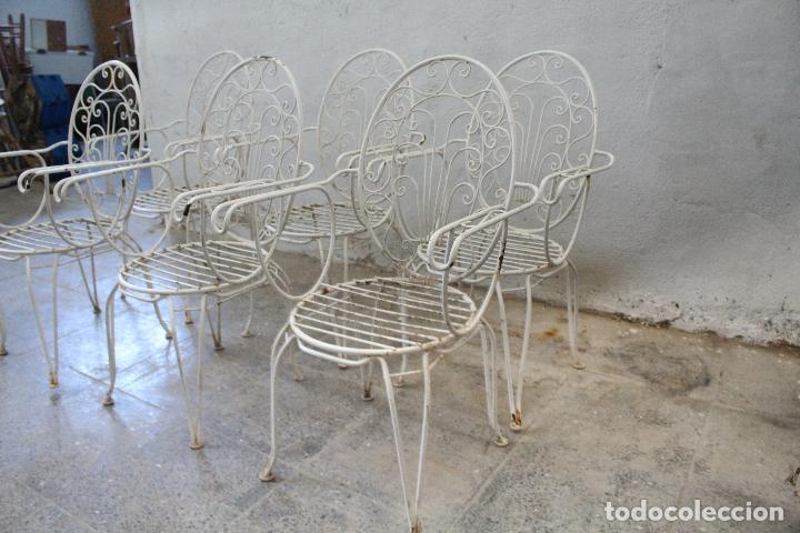 Antigüedades: 6 sillones sillas de jardin de hierro hueco - Foto 3 - 276984628