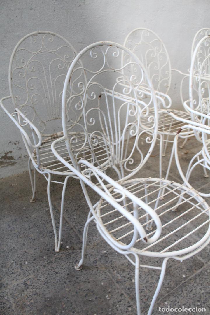 Antigüedades: 6 sillones sillas de jardin de hierro hueco - Foto 4 - 276984628