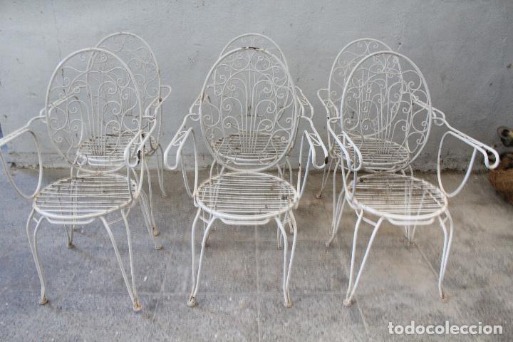 Antigüedades: 6 sillones sillas de jardin de hierro hueco - Foto 5 - 276984628