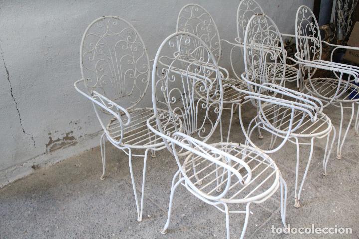 Antigüedades: 6 sillones sillas de jardin de hierro hueco - Foto 6 - 276984628