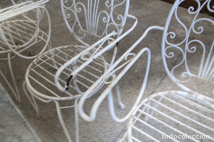 Antigüedades: 6 sillones sillas de jardin de hierro hueco - Foto 7 - 276984628