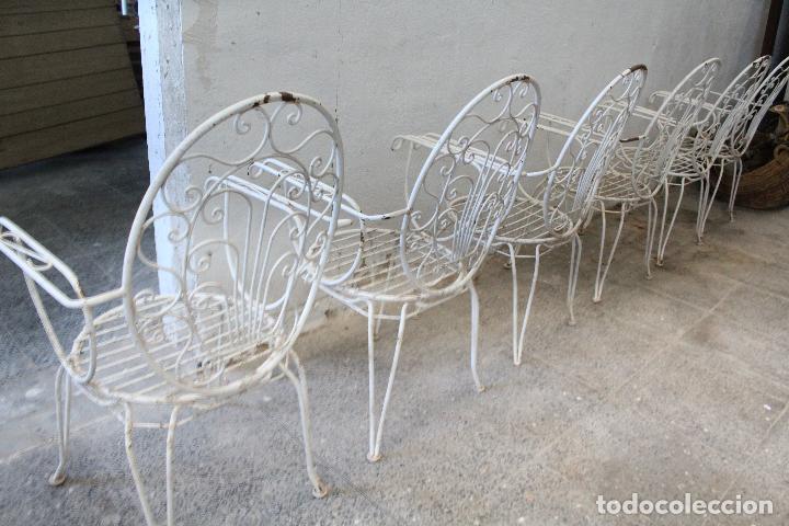Antigüedades: 6 sillones sillas de jardin de hierro hueco - Foto 8 - 276984628