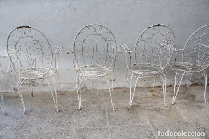 Antigüedades: 6 sillones sillas de jardin de hierro hueco - Foto 9 - 276984628
