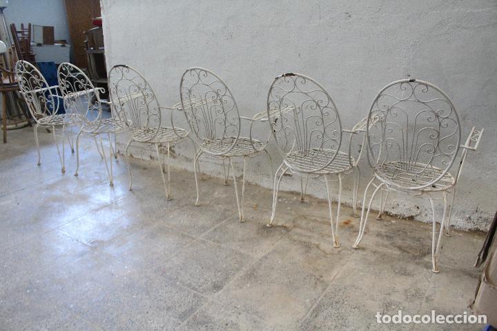 Antigüedades: 6 sillones sillas de jardin de hierro hueco - Foto 10 - 276984628