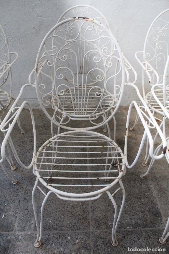 Antigüedades: 6 sillones sillas de jardin de hierro hueco - Foto 11 - 276984628