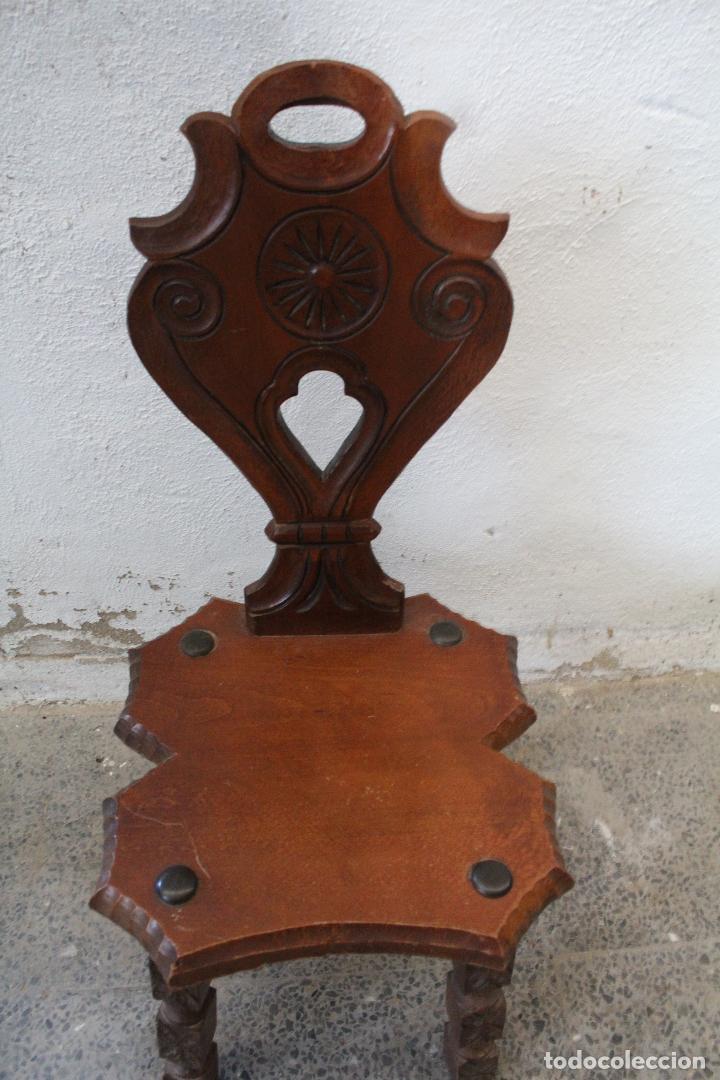 Antigüedades: silla madera recibidor - Foto 2 - 276984798