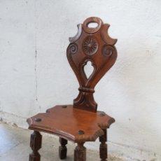 Antigüedades: SILLA MADERA RECIBIDOR. Lote 276984798