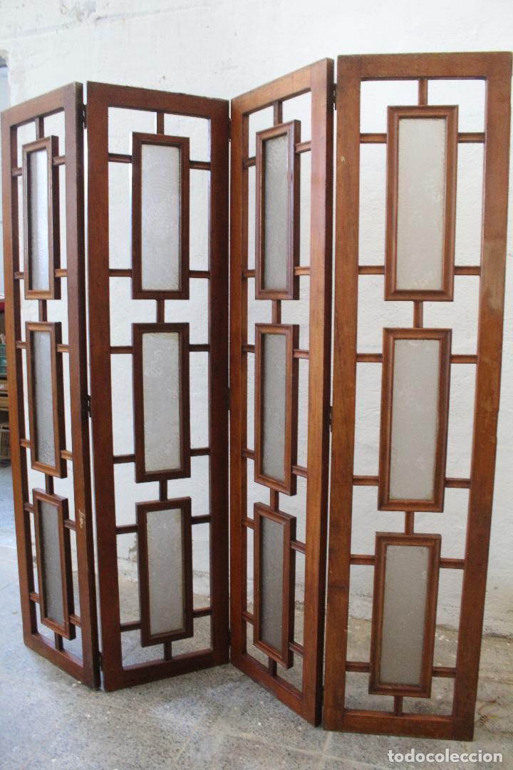 Antigüedades: biombo madera y cristal - Foto 3 - 276985498