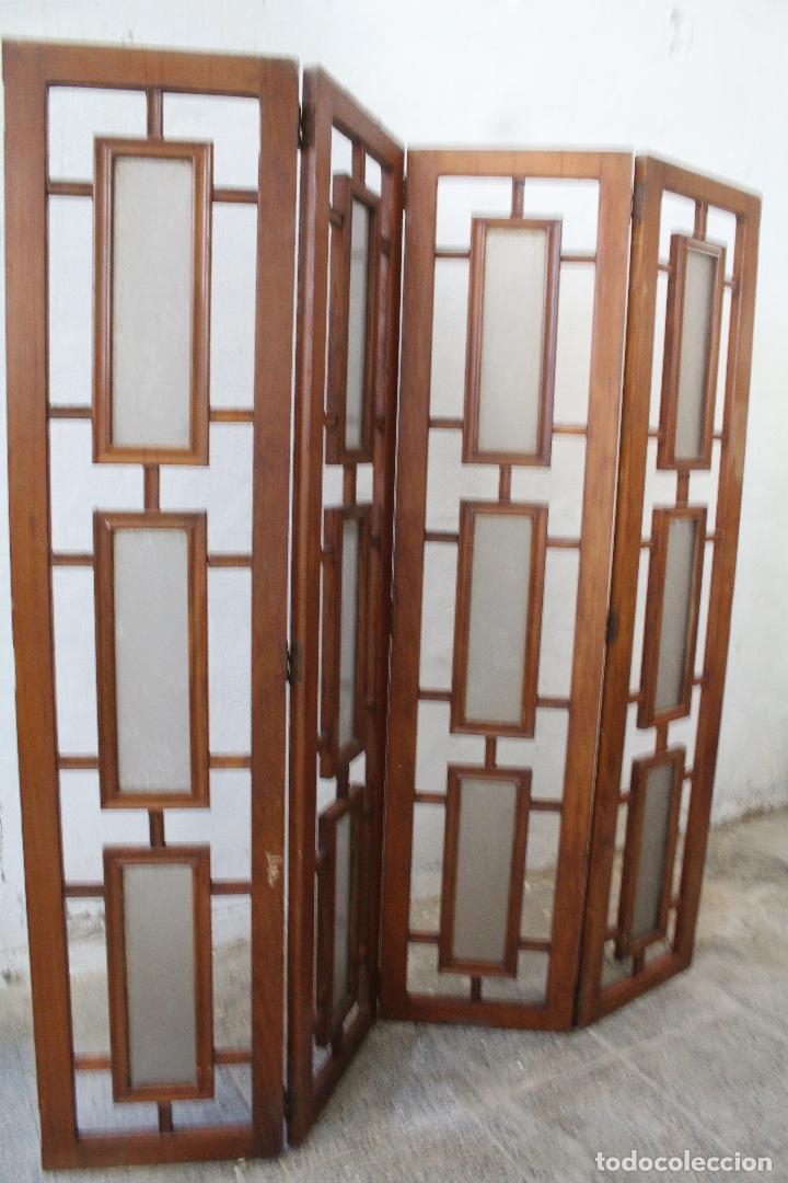 Antigüedades: biombo madera y cristal - Foto 4 - 276985498