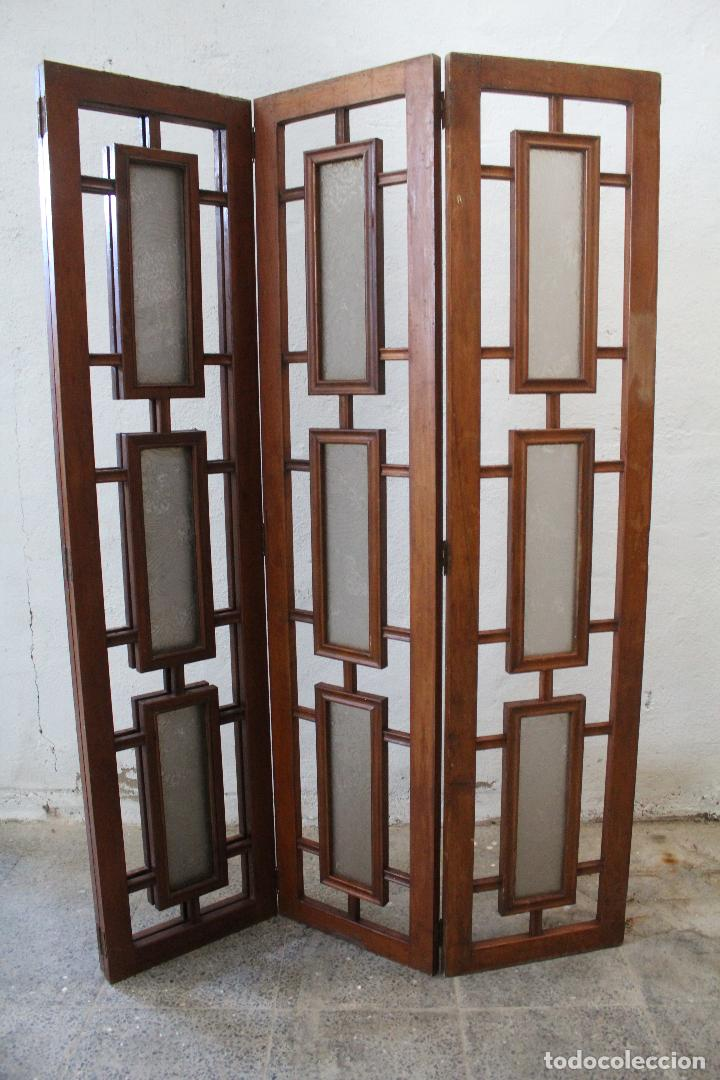 Antigüedades: biombo madera y cristal - Foto 5 - 276985498