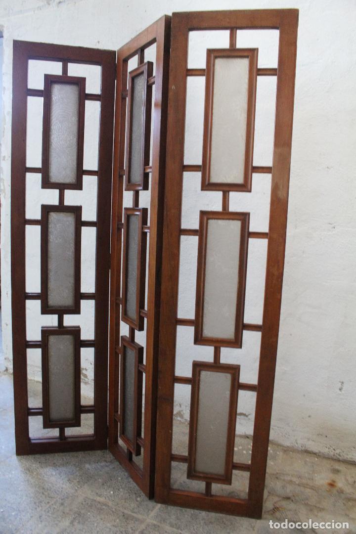 Antigüedades: biombo madera y cristal - Foto 6 - 276985498