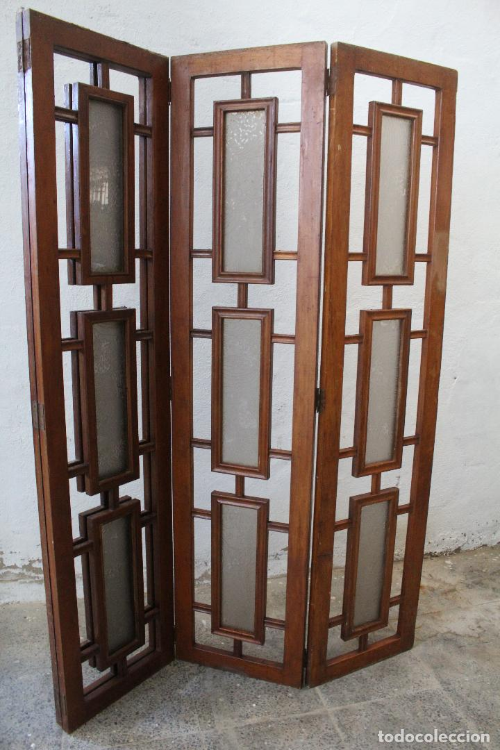 Antigüedades: biombo madera y cristal - Foto 7 - 276985498