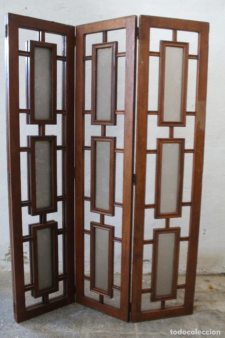 Antigüedades: biombo madera y cristal - Foto 8 - 276985498