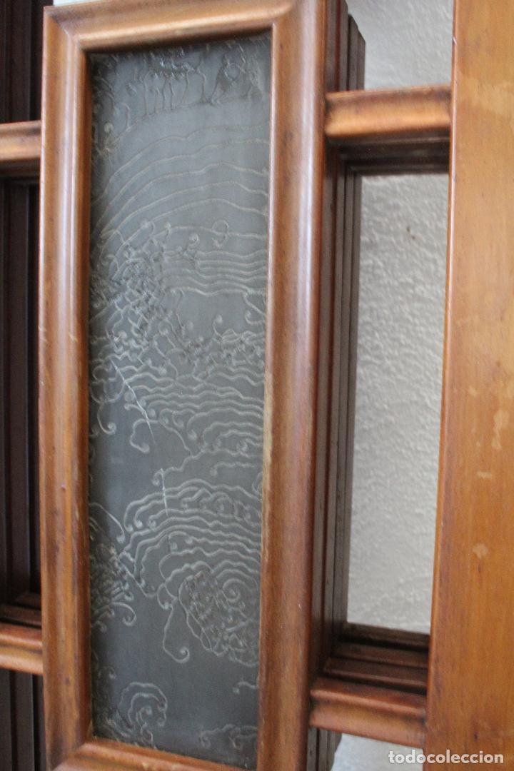 Antigüedades: biombo madera y cristal - Foto 9 - 276985498