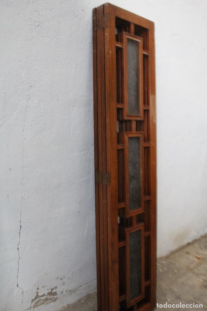 Antigüedades: biombo madera y cristal - Foto 11 - 276985498