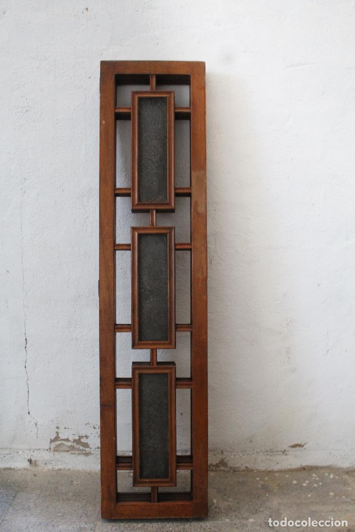Antigüedades: biombo madera y cristal - Foto 12 - 276985498