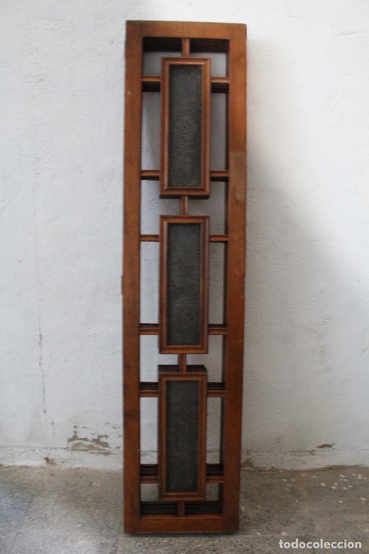 Antigüedades: biombo madera y cristal - Foto 13 - 276985498