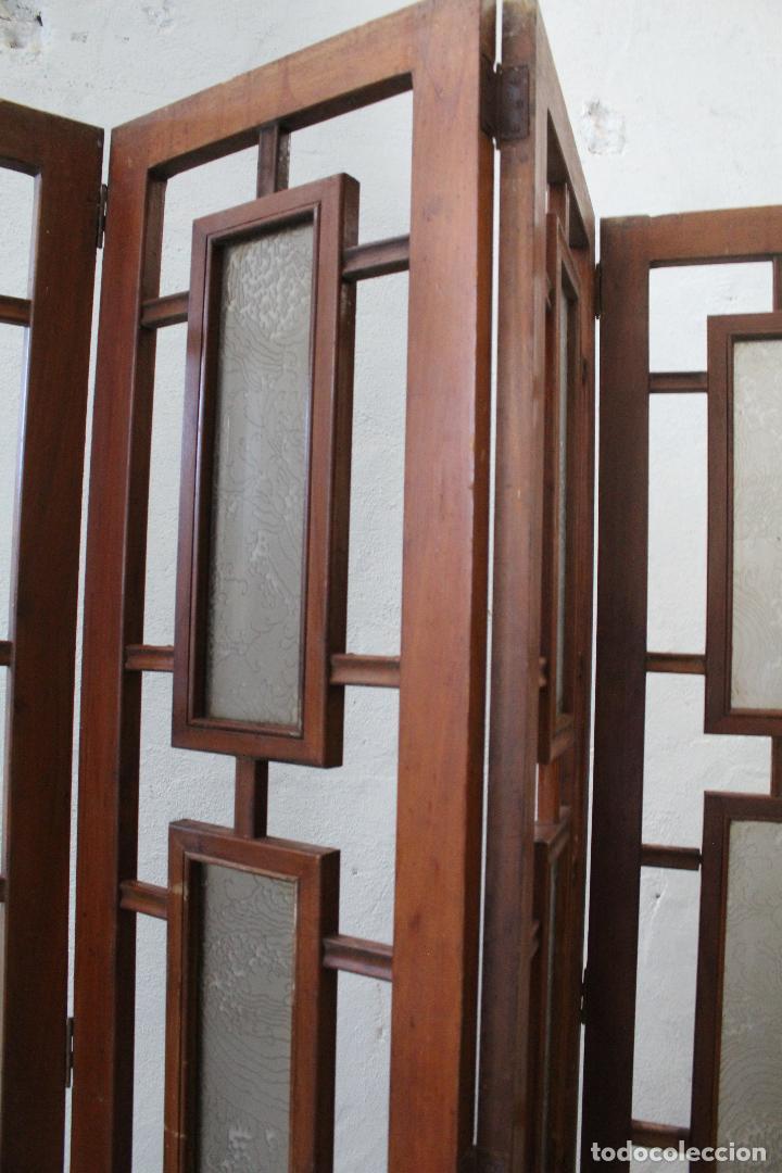 Antigüedades: biombo madera y cristal - Foto 16 - 276985498