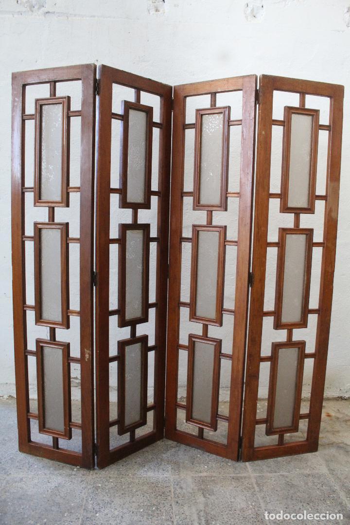 BIOMBO MADERA Y CRISTAL (Antigüedades - Muebles Antiguos - Auxiliares Antiguos)
