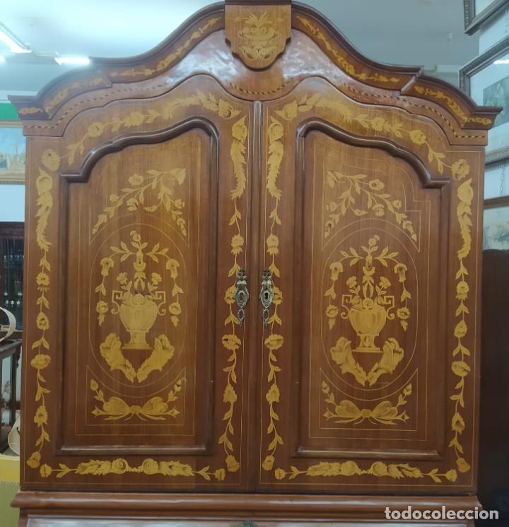Antigüedades: Mueble marquetería en dos cuerpos - Foto 4 - 276999273