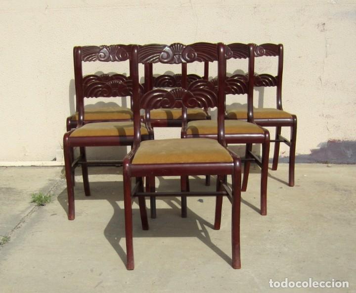 Antigüedades: 6 sillas antiguas en madera tallada - Foto 2 - 277047858