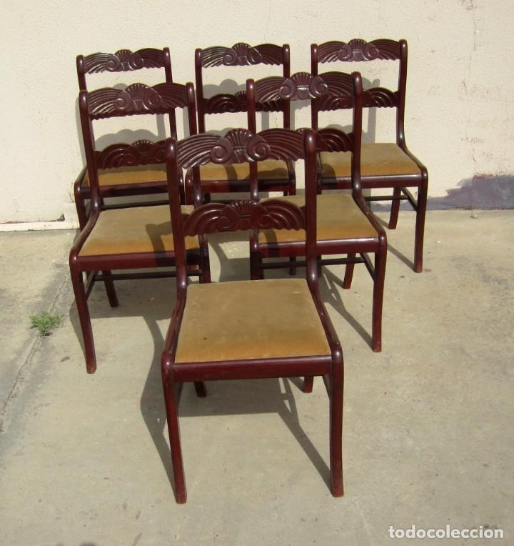 Antigüedades: 6 sillas antiguas en madera tallada - Foto 3 - 277047858