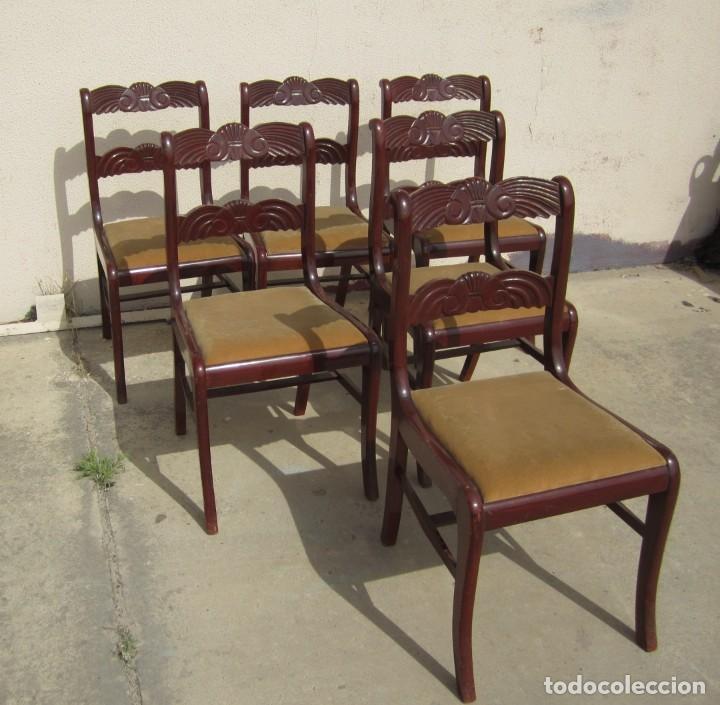 Antigüedades: 6 sillas antiguas en madera tallada - Foto 4 - 277047858