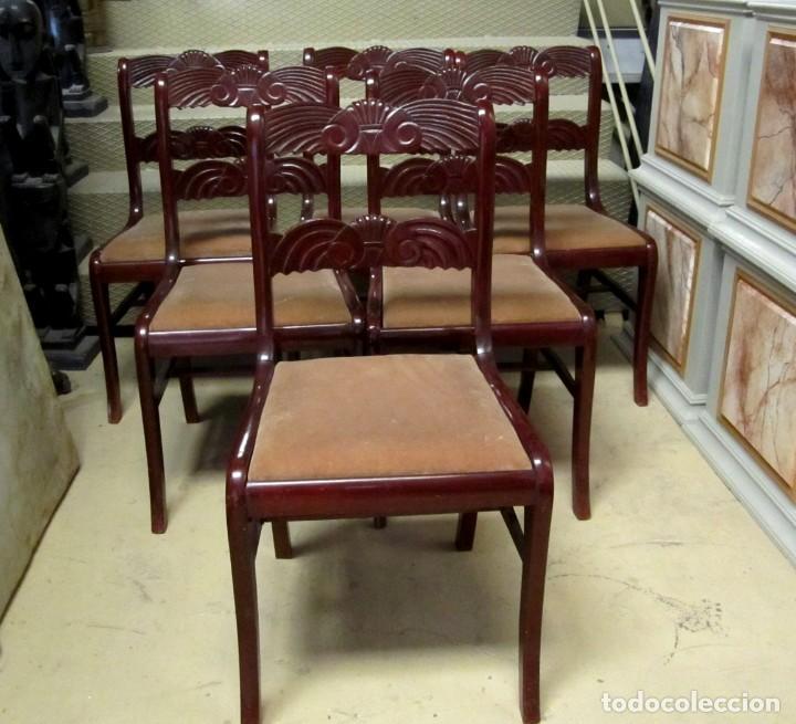 Antigüedades: 6 sillas antiguas en madera tallada - Foto 15 - 277047858