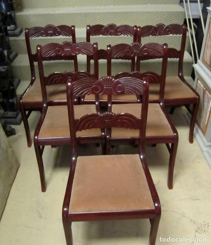 Antigüedades: 6 sillas antiguas en madera tallada - Foto 16 - 277047858