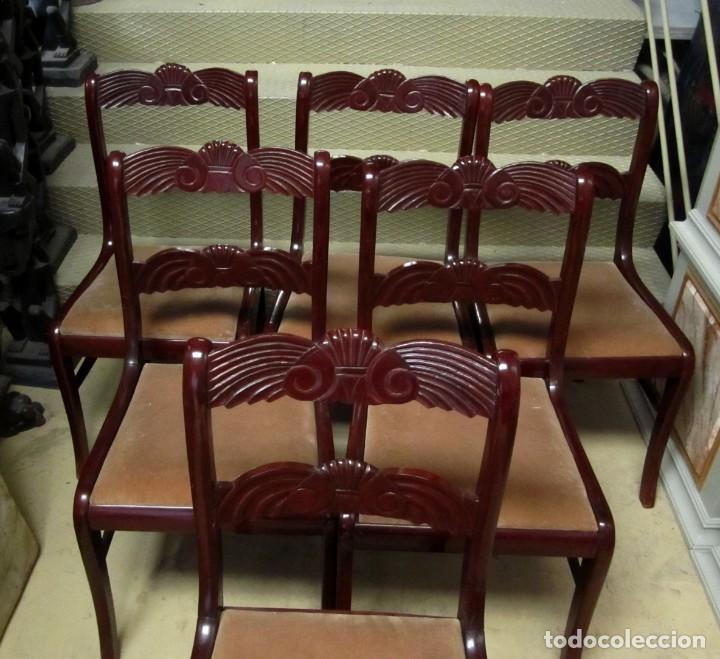 Antigüedades: 6 sillas antiguas en madera tallada - Foto 17 - 277047858