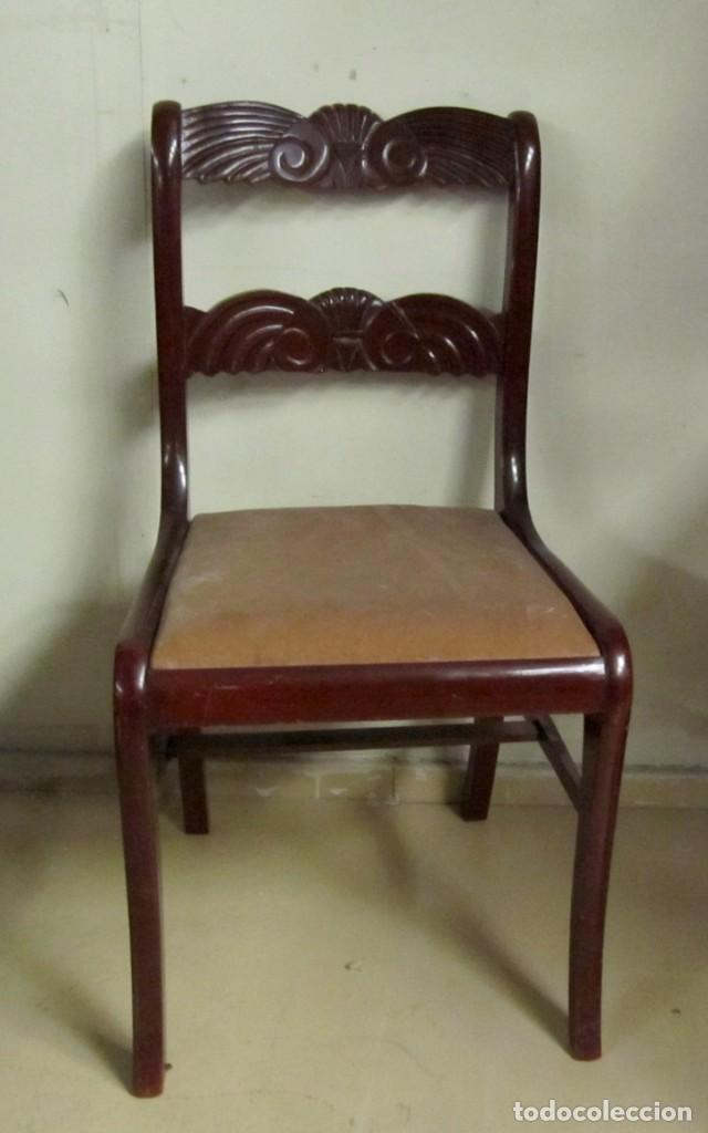 Antigüedades: 6 sillas antiguas en madera tallada - Foto 18 - 277047858