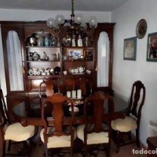 Antigüedades: MESA COMEDOR MADERA CON 6 SILLAS. Lote 277049803