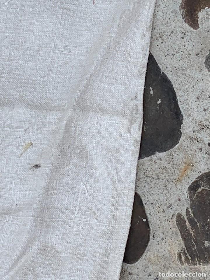Antigüedades: SABANA TELA DE CAÑAMO S XIX PARA DECORAR MESA O TAPIZAR - Foto 4 - 277049833