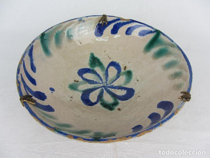 Antigüedades: Cuenco de Fajalauza del siglo XIX, en azul y verde - Foto 2 - 277083793