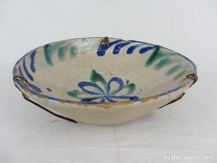 Antigüedades: Cuenco de Fajalauza del siglo XIX, en azul y verde - Foto 3 - 277083793
